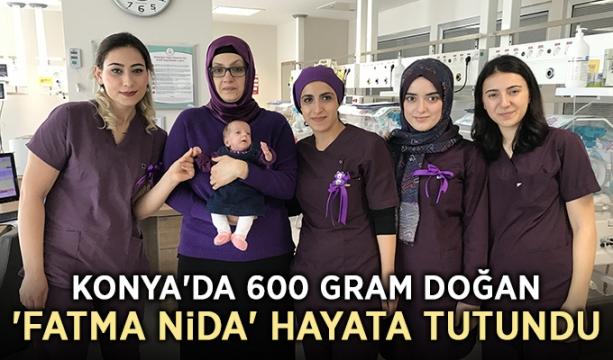 Konya'da 600 gram doğan 'Fatma Nida' hayata tutundu