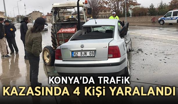 Konya'da trafik kazasında 4 kişi yaralandı