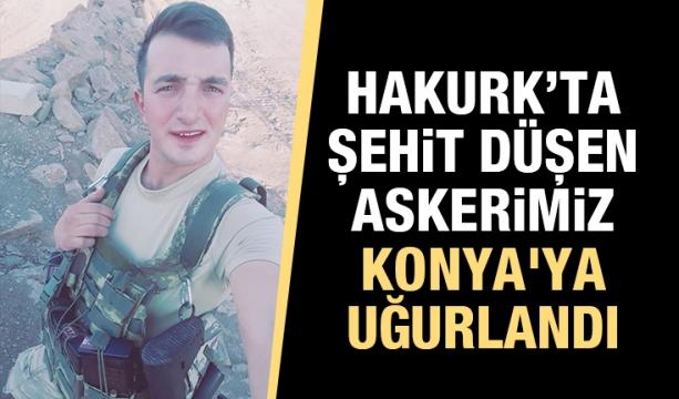 Hakurk'ta şehit düşen askerimiz Konya'ya uğurlandı
