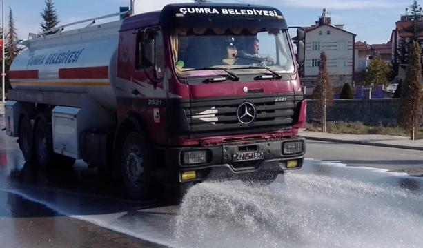 Çumra'da Caddeler Baştan Aşşağı Yıkandı