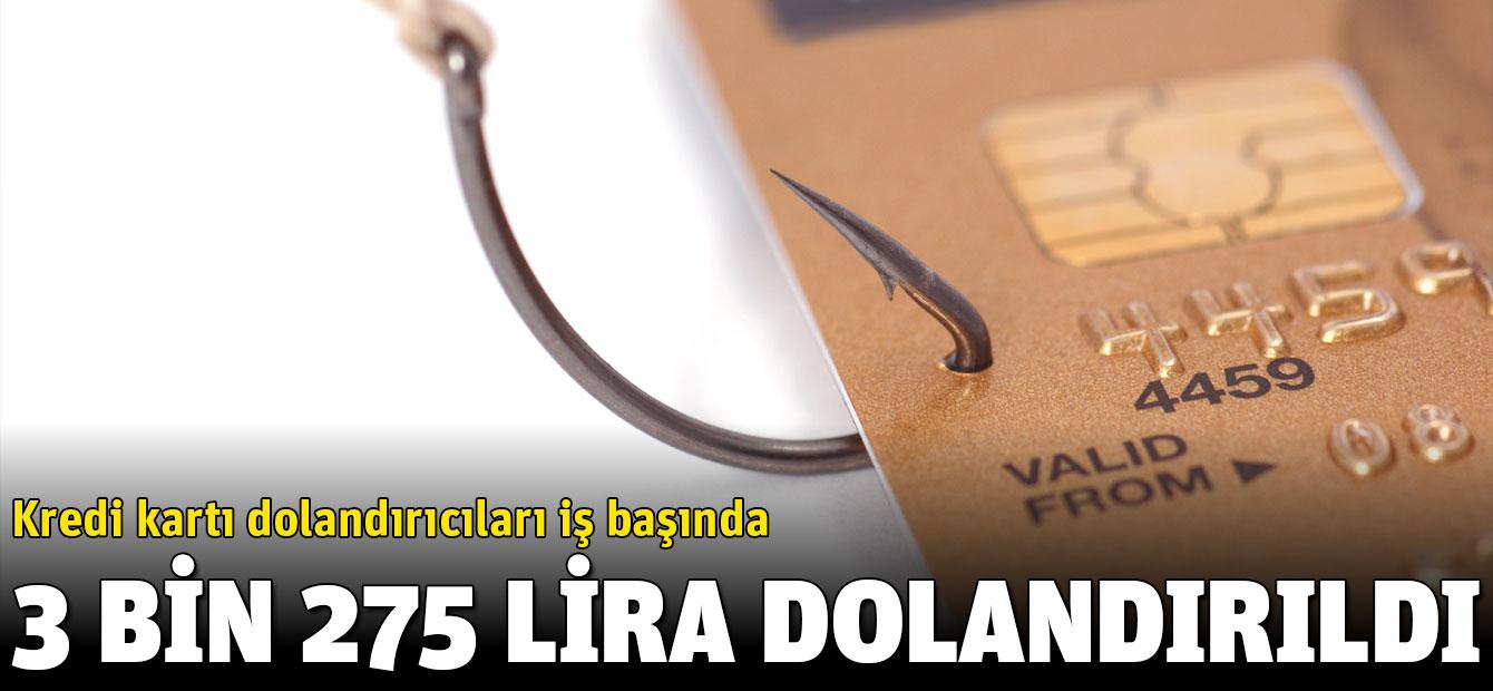 Kredi kartı dolandırıcıları iş başında, 3 bin 275 lira alışveriş yapılarak dolandırıldı