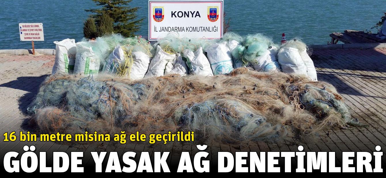 Beyşehir Gölü'nde 16 bin metre misina ağ ele geçirildi