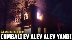 İki katlı cumbalı ev yanarak kullanılamaz hale geldi