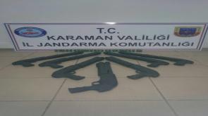 Karaman'da ruhsatsız pompalı tüfeklere el konuldu