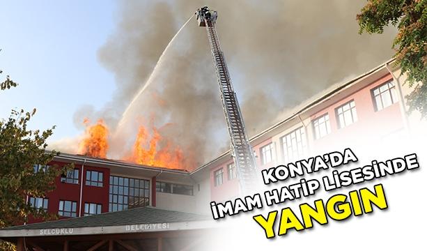 Okulların açılmasına bir hafta kala İmam Hatip Lisenin çatısı yandı #konyahaber