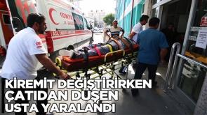 Kiremit değiştirirken çatıdan düşen usta yaralandı #KonyaHaber