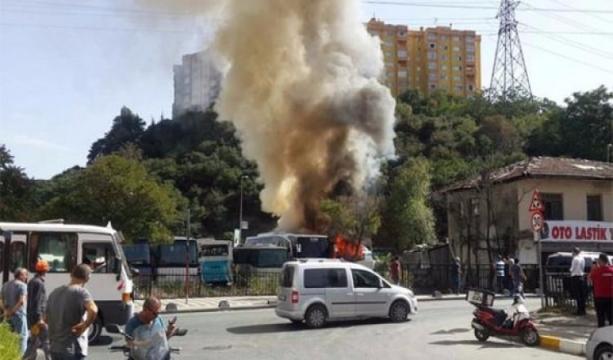 Sarıyer'de yangın! Alevler diğer araçlara sıçradı