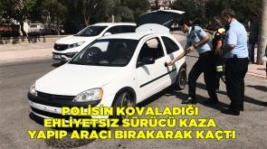 Polisin kovaladığı ehliyetsiz sürücü kaza yapıp aracı bırakarak kaçtı #KonyaHaber