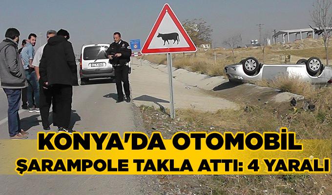 Konya Haber:  Konya'da otomobil şarampole takla attı: 4 yaralı