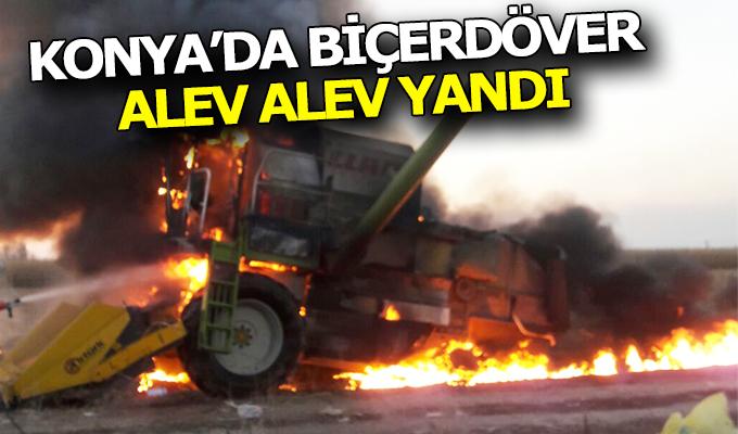 Konya Haber:  Konya'da mısır hasadı yapan biçerdöverde yangın