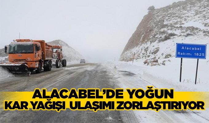 Konya Haber: Alacabel'de yoğun  kar yağışı  ulaşımı zorlaştırıyor