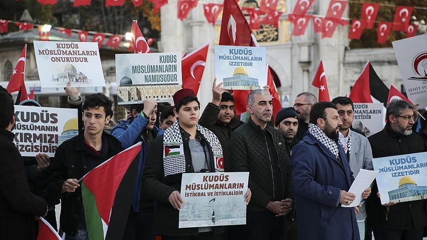 ABD'nin Kudüs kararı Eyüp Sultan Camisi'nde protesto edildi