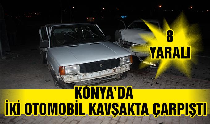 Konya Haber: Konya'da iki otomobil kavşakta çarpıştı: 8 yaralı