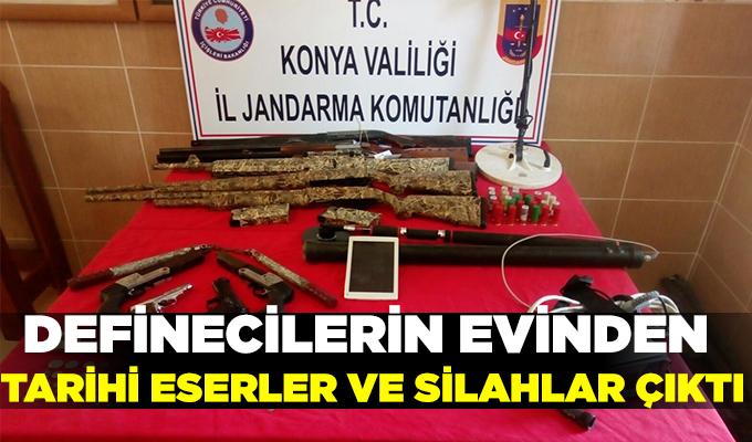 Konya Haber: Definecilerin evinden tarihi eserler ve silahlar çıktı