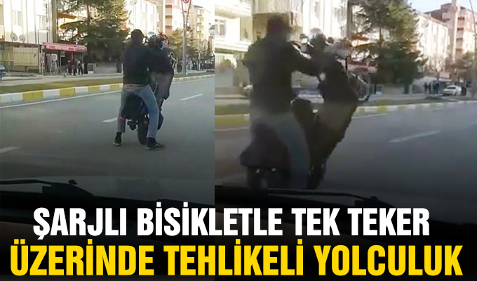 Konya Haber: Şarjlı bisikletle tek teker üzerinde tehlikeli yolculuk