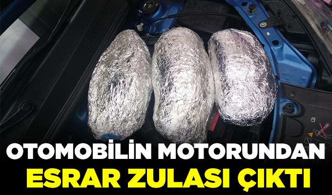 Konya'da otomobilin motorundan esrar zulası çıktı