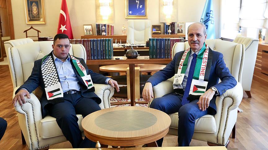 Kurtulmuş, Filistinli down sendromlu gençle buluştu