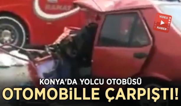 Konya'da yolcu otobüsü otomobille çarpıştı!